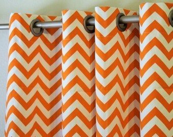 "Curtains Pair of 50"" wide orange and white chevron zig zag panels, drapes 50x63"" 50x84 50x96 50x108"" grey blue red- add grommets and lining"