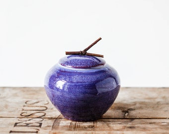 Lovely handmade jar with a handle from natural wood in purple-blue color