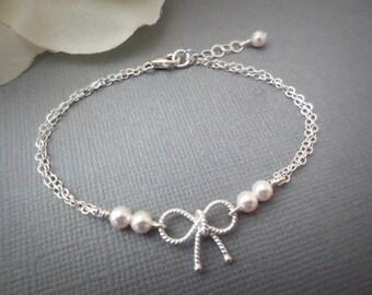 Personalized Bow Bracelet--Sterling Silver Twisted Bow Tie the knot Bracelet -Pearl Bracelet-Bridemaids Gift-Everyday Bracelet-Friends Gift