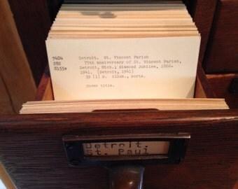 Historical Detroit Public Library Card Catalog Cards