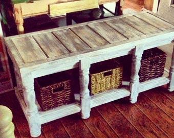 Custom Basket Storage Bench, Coffee Table. Baskets Included /////CUSTOM