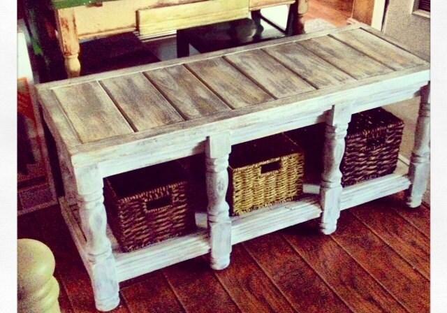 custom basket storage bench coffee table baskets included. Black Bedroom Furniture Sets. Home Design Ideas