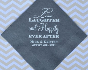Custom Love Laughter and Happily Ever After Napkins, Wedding Napkins, Personalized Beverage Napkins, Rehearsal Dinner, Wedding Cake Napkins