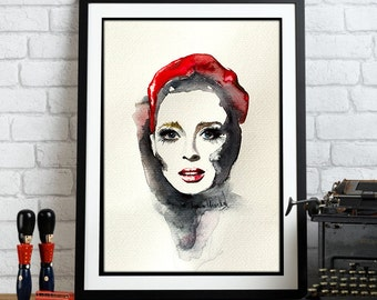 Watercolor Print -  I wanna hear your hearbeat. Portrait girl in red hat.
