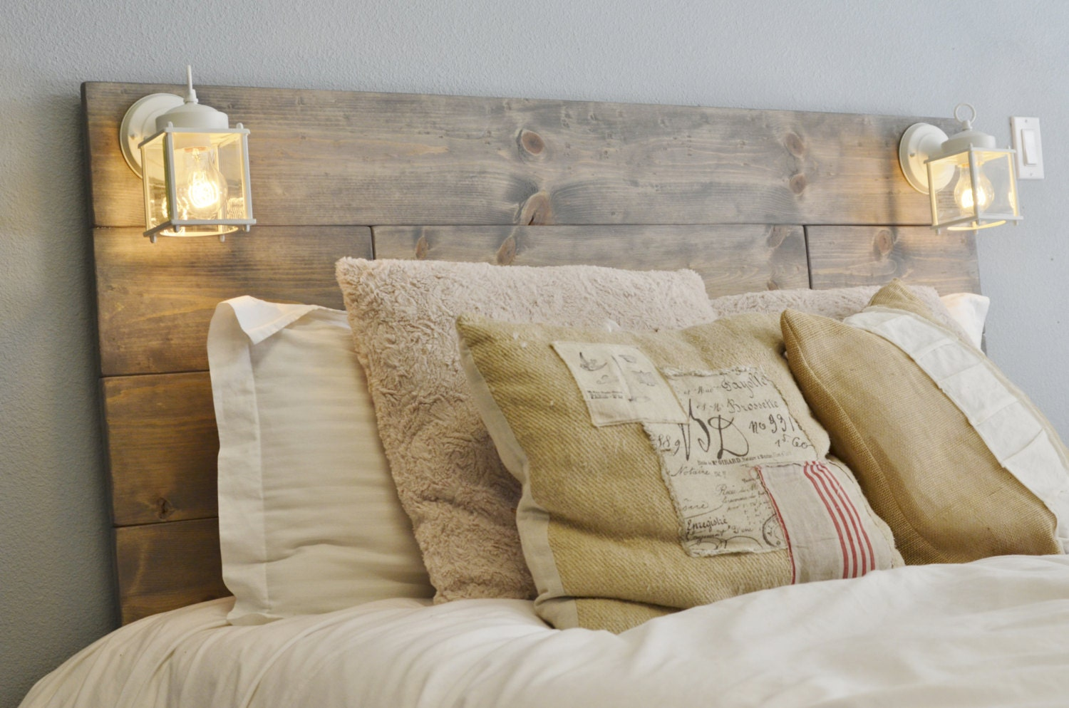 Rustic Headboards wood headboard with white built in lighting-cordoba