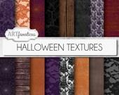 """16 """"HALLOWEEN TEXTURES"""" digital papers, orange, cobwebs grunge textures, skulls, trees, wood, linen, purple, lace for halloween, scrapbook"""