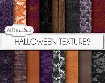 "16 ""HALLOWEEN TEXTURES"" digital papers, orange, cobwebs grunge textures, skulls, trees, wood, linen, purple, lace for halloween, scrapbook"
