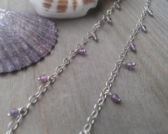 Sterling and amethyst anklet