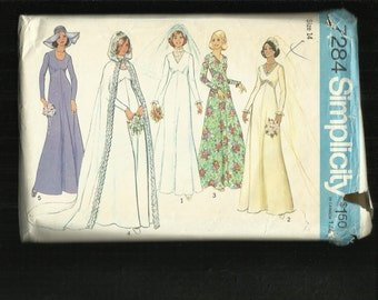 Vintage 1975 Simplicity 7284 Hooded Wedding Gown Cape Size 14