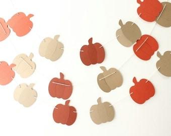 Pumpkin Garland, Fall Garland, Autumn Decor, Fall Decor, Halloween Decoration, Thanksgiving Decor, Paper Garland, Rustic Garland