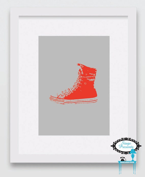 Red High Top Shoe Red Sneaker Home Decor Kid Decor