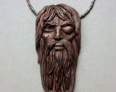 """Odin pendant with wooden beads, copper, carnelian and black agate. 20"""" OOAK"""