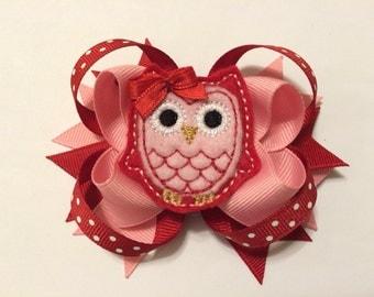 Valentine's Day Felt Owl Hairbow
