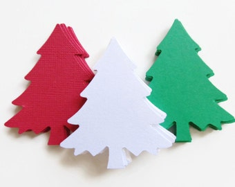"30 Large  Christmas Tree, Christmas Die Cuts, Evergreen Tree, Winter Weddings, Paper Pine Tree, 2 1/4 "" Tall"