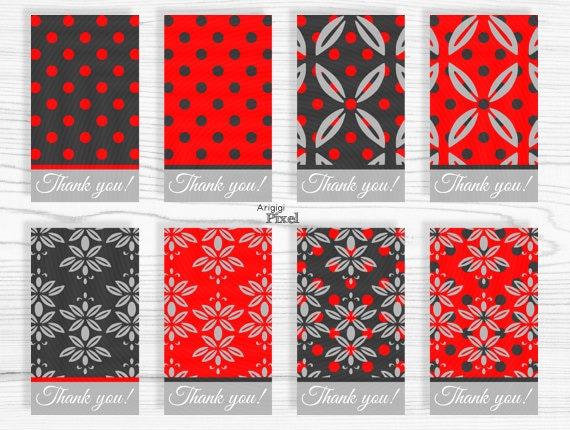 Blank Printable Tags: Printable Red Damask Gift Tag, Thank You Gift Tag Template