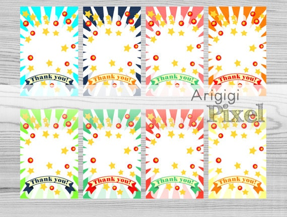 hang tags - circus party favor gift tag - printable thank you tag - set of 8 tags - circus birthday - colorful - download