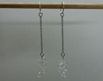 Long Dangle Silver Chain Earrings, Long Dangle Crystal Wedding Earrings, Long Dangle Hoop Earrings, Art Deco Drop Earrings