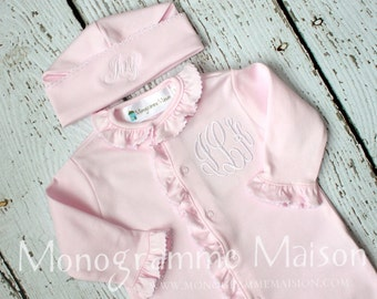 Baby Girl Coming Home Outfit - Newborn Baby Girl Outfit - Personalized Baby Gift - Monogrammed Baby Girl Ruffled Footie - Pima Cotton