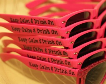 Bachelorette Party Hot Pink Sunglasses for Bride's Last Night Out
