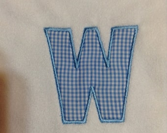 Baby Bib Letter W in Blue and White Gingham Check/Any letter Your Choice