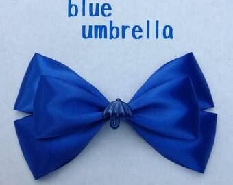 blue  umbrella hair bow