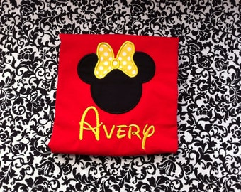 Red and Yellow Minnie Mouse Ears Shirt