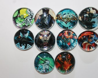 Geocache Glass Stone Refrigerator Magnets -  12 Piece Comic Book Hero's Set