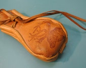 Handmade Swedish retro vintage 1960s small tan Laplander reindeer leather purse in good used condition