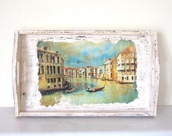 Venice decoupage tray , wooden distressed breakfast tray , decorative italy tray