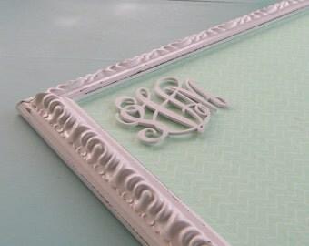 Mint Chevron Pin Board or Magnet Board White Detailed Frame Shabby Teen Girl Monogramed Room Bulletin Board