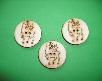 4 Wooden Buttons Deer, 3 cm (15-0002B)
