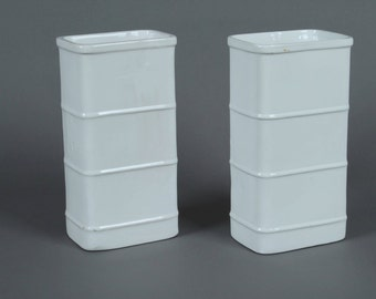 White rectangular vases (2 set) Bamboo