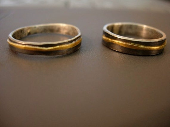 Recycled 18k Gold Wedding Bands Organic By MelissaTysonDesigns