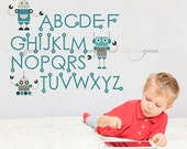 Alphabet Nursery Wall Decal - Robot Wall Decal - Playroom Wall Decal - Educational Wall Decal - Play Room Wall Decal - 01-0039