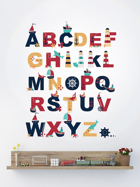 Alphabet wall decal alphabet decal nautical by for Party wall act letter to neighbour