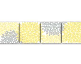 Home Decor Wall Art, INSTANT DOWNLOAD Yellow and Grey Flower Burst Art, Bathroom Wall Decor, Yellow Bedroom Decor, Nursery Wall Art - HOME59