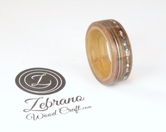 Bent Wood Ring Walnut and Oak with Abalone Shell and Guitar String Inlays Hand Made In Any UK or US Size.  Optional Inscription or Engraving
