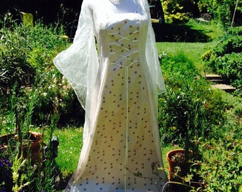 Bespoke Ivory fairy medieval renaissance  pagan Handfasting celtic wedding gown / dress 16 TO 22