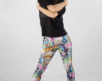 Leggings//Pop Art Print leggings//Rainbow Colors//Women's//Active Wear//Everyday Wear//Yoga Pants