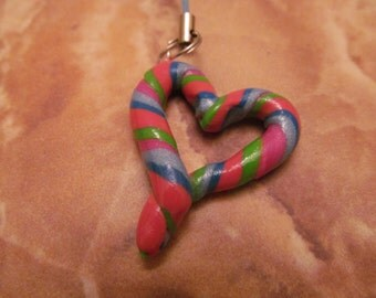 Handmade For You Rainbow Pastel Candy Open Heart Cell Phone Charm Ipod Purse Charm Zipper Pull Polymer Clay One of A Kind