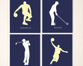 Boys wall art, basketball art, golf art, sports art, golfer, basketball player, inspirational sports quotes, custom sports and colors