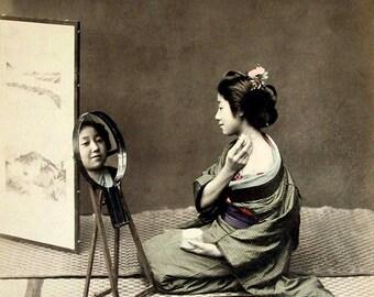 Japanese geisha vintage photography, Geisha and Mirror FINE ART PRINT, old antique photographs art prints, japanese geisha wall art posters