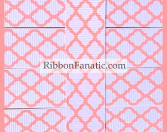 "5 yds 7/8"" White and Coral Quatrefoil Modern Morroccan Tile Lattice Grosgrain Ribbon"