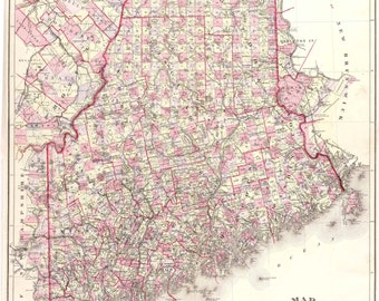 Maine  - 1887 Map by Colby   Reprint
