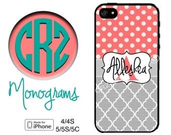 iPhone 5C Case - Coral Polka Dot Grey Lattice iPhone Case - iPhone 4 Case - iPhone 5 Case - Personalized iPhone 5S Case