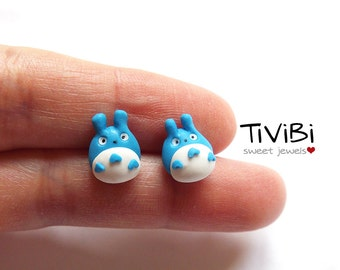 My neighbor Totoro, clay stud earrings blue