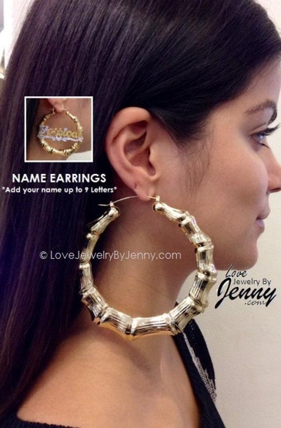 14k Gold Overlay 4 Inch Big Super Size Hoop Bamboo Earrings