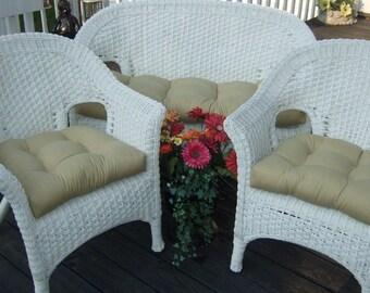 Indoor / Outdoor Wicker Cushion 3 Pc. Set   Solid Tan Love Seat Cushion U0026