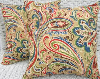 "Set of 2 - 17"" x 17"" Indoor / Outdoor Blue, Red, Green, Tan, Paisley Decorative Throw Pillows"