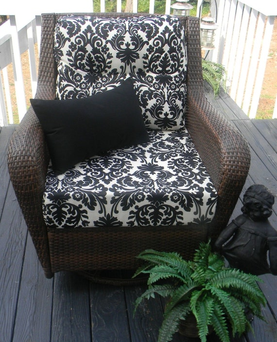 items similar to indoor outdoor deep seating chair cushion set seat back black ivory. Black Bedroom Furniture Sets. Home Design Ideas